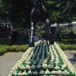 Belmont paddock and iconic Secretariat sculpture