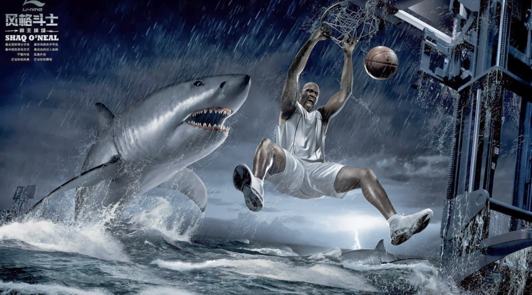 Shaq Dunk On Shark Wallpapers 1336X768